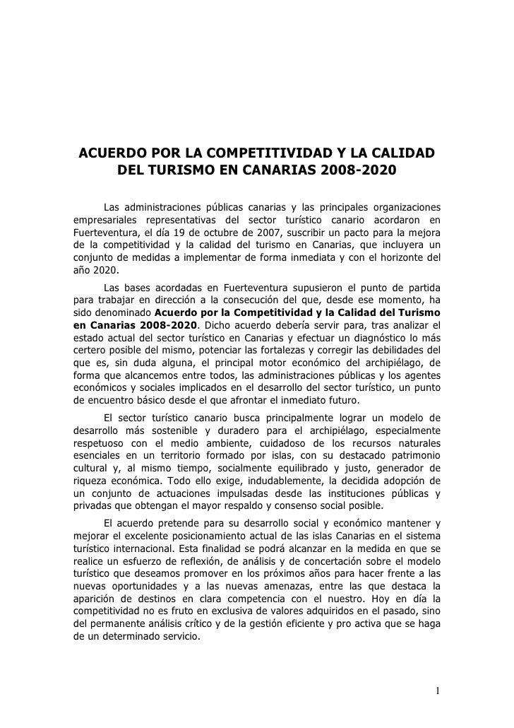 Acuerdo Por La Competitividad Y La Calidad Del Turismo En Canarias 2008   2020