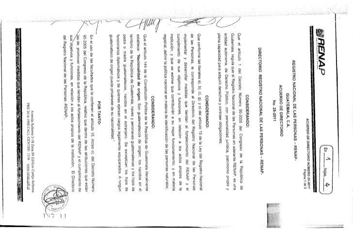 Acuerdo del Directorio de RENAP 25-2011