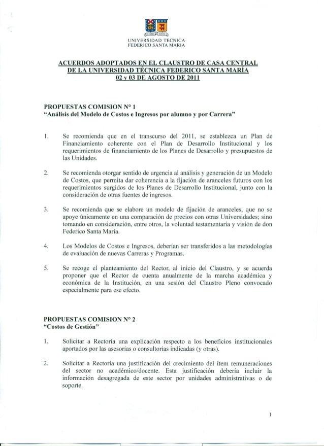 Acuerdos claustro casa central 02 y 03 agosto 2011