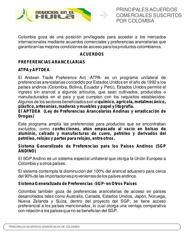 PRINCIPALES ACUERDOS                                                          COMERCIALES SUSCRITOS                       ...