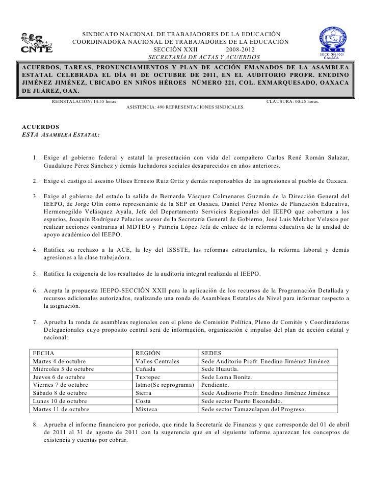 SINDICATO NACIONAL DE TRABAJADORES DE LA EDUCACIÓN                      COORDINADORA NACIONAL DE ...