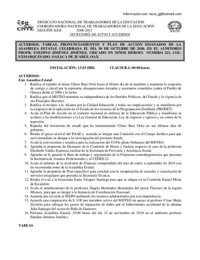 Información con: recra_g@hotmail.com SINDICATO NACIONAL DE TRABAJADORES DE LA EDUCACIÓN COORDINADORA NACIONAL DE TRABAJADO...