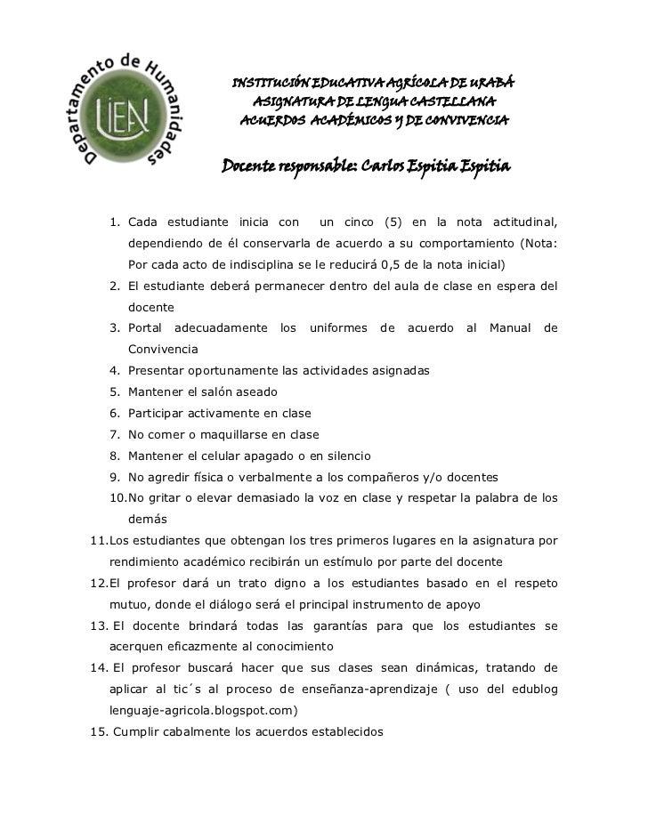 -288925-26733500INSTITUCIÓN EDUCATIVA AGRÍCOLA DE URABÁ<br />ASIGNATURA DE LENGUA CASTELLANA<br />ACUERDOS  ACADÉMICOS Y D...