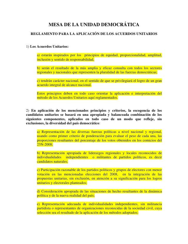 MESA DE LA UNIDAD DEMOCRÁTICA   REGLAMENTO PARA LA APLICACIÓN DE LOS ACUERDOS UNITARIOS   1) Los Acuerdos Unitarios:      ...