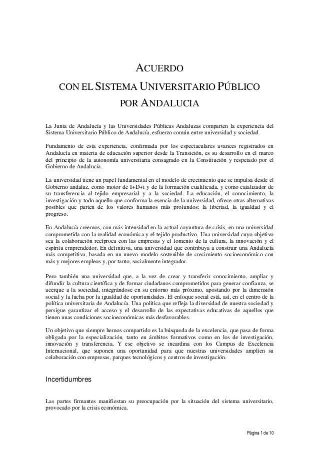 Página 1 de 10ACUERDOCON EL SISTEMA UNIVERSITARIO PÚBLICOPOR ANDALUCIALa Junta de Andalucía y las Universidades Públicas A...