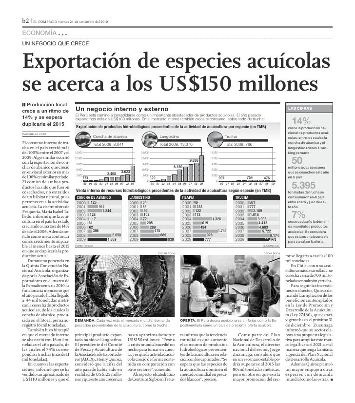 b2 I EL COMERCIO viernes 24 de setiembre del 2010EconomíaUn negocio qUe creceExportación de especies acuícolasse acerca a ...