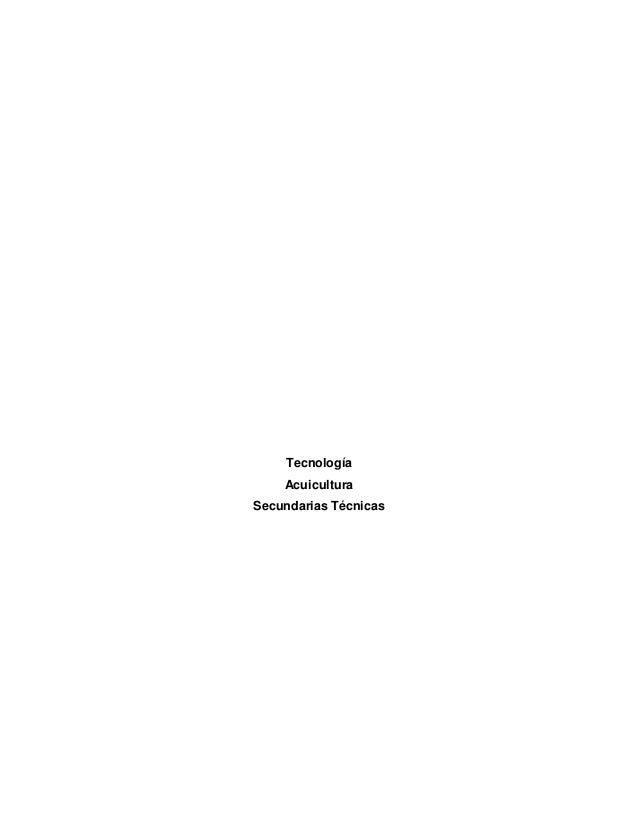 Tecnología Acuicultura Secundarias Técnicas