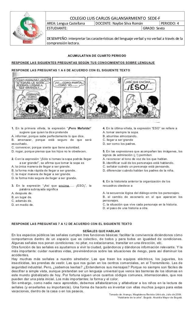 COLEGIO LUIS CARLOS GALANSARMIENTO SEDE-F                         AREA: Lengua Castellana            DOCENTE: Nayibe Silva...