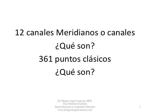 12 canales Meridianos o canales           ¿Qué son?      361 puntos clásicos           ¿Qué son?            Dr. Miguel Ang...