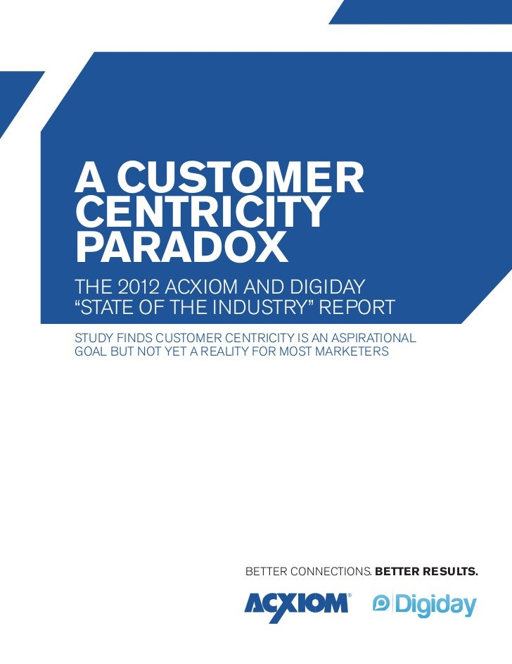 "a customercentricityparadoxthe 2012 acxiom and digiday""state of the industry"" reportStudy finds customer centricity is an ..."