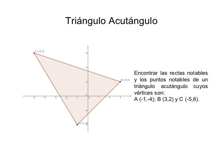 Triángulo Acutángulo Encontrar las rectas notables y los puntos notables de un triángulo acutángulo cuyos vértices son:  A...