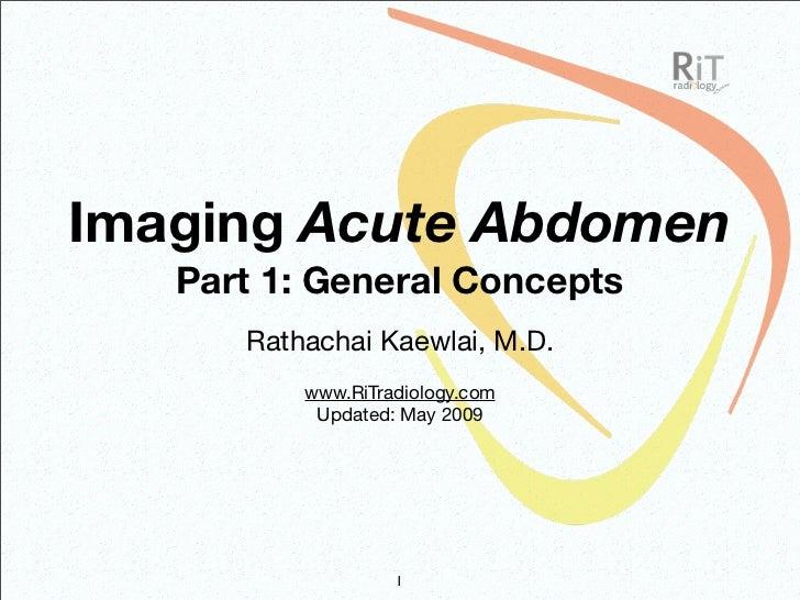 Imaging Acute Abdomen (Part 1)
