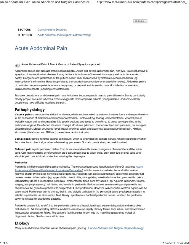 Acute Abdominal Pain: Acute Abdomen and Surgical Gastroenter...                     http://www.merckmanuals.com/profession...