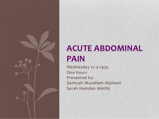 Acute abdominal pain sarah Alotibi and samiyah aljohani
