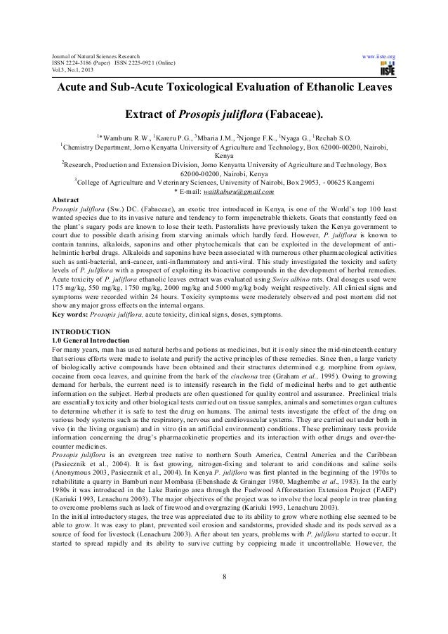 Acute and sub acute toxicological evaluation of ethanolic leaves extract of prosopis juliflora (fabaceae)