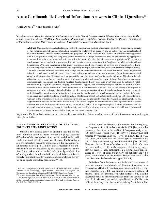 54                                                      Current Cardiology Reviews, 2012, 8, 54-67Acute Cardioembolic Cere...