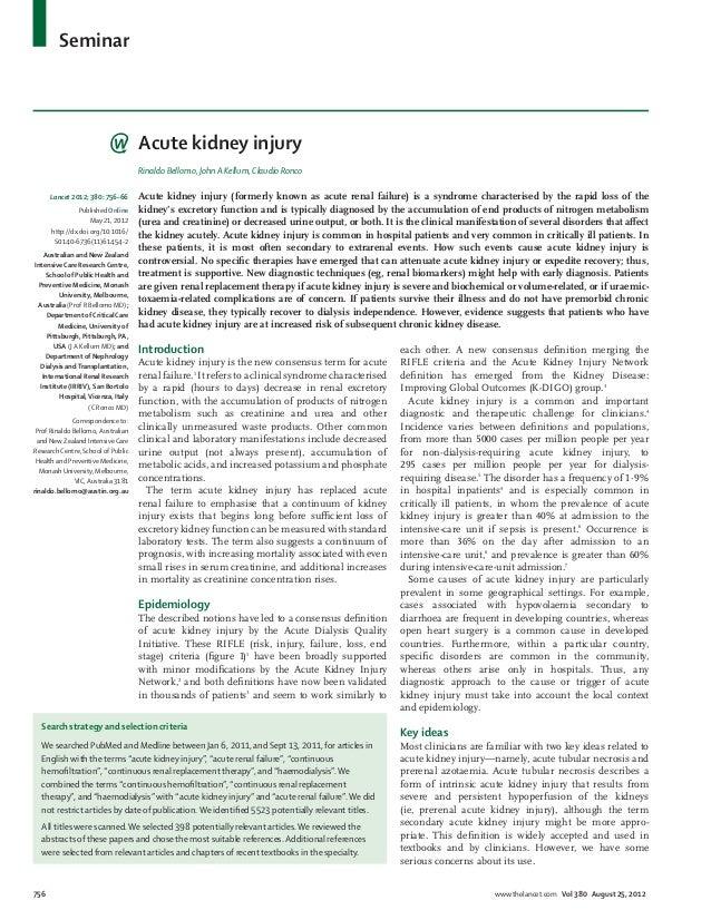 Seminar                                     Acute kidney injury                                     Rinaldo Bellomo, John ...