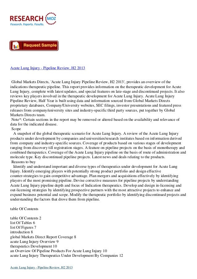 Acute Lung Injury - Pipeline Review, H2 2013  Global Markets Directs, 'Acute Lung Injury Pipeline Review, H2 2013', provid...