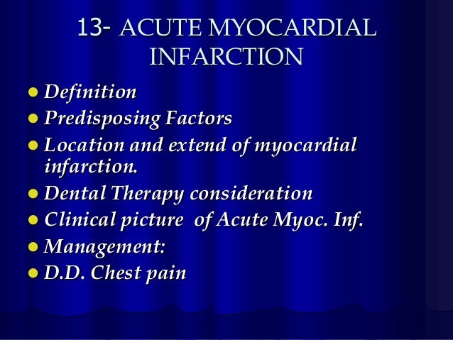 acute myocardial infarction thesis Recovery following an acute myocardial infarction: impact on the quality of life of patients and their partners janis kathleen mcdowell bnurs bnurs(hons.
