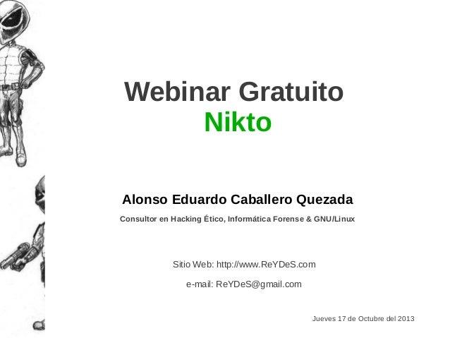 "Webinar Gratuito ""Nikto"""