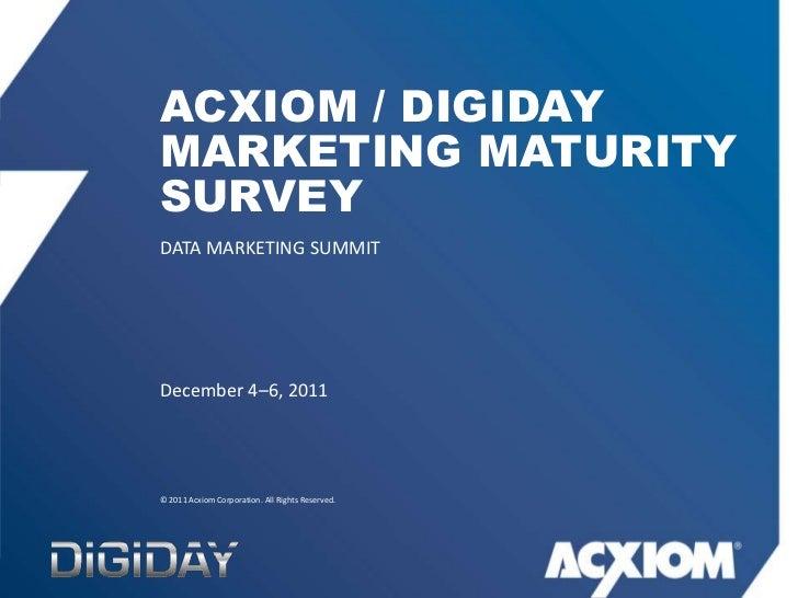 Acxiom / Digiday - Marketing Maturity Survey #digiday