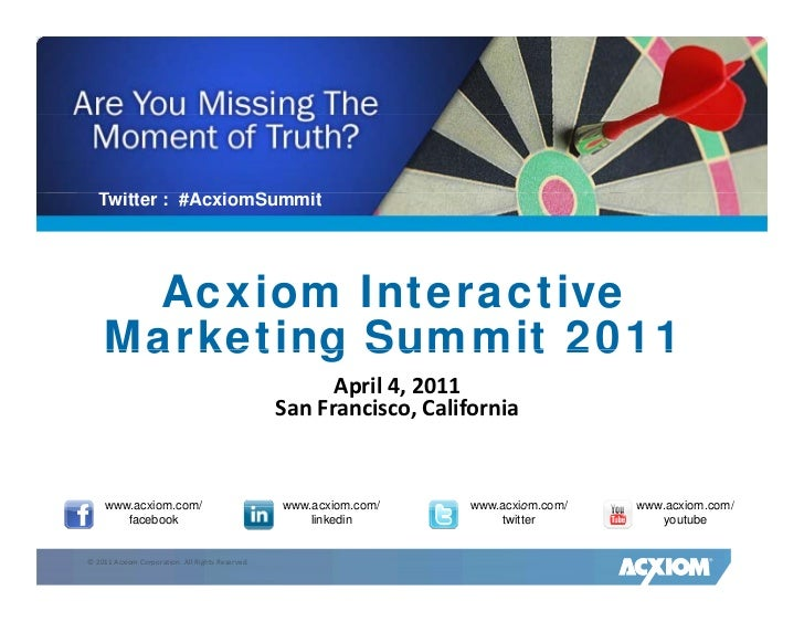 Acxiom Interactive Marketing Summit 2011 <ul><li>April 4, 2011 </li></ul><ul><li>San Francisco, California </li></ul>www.a...