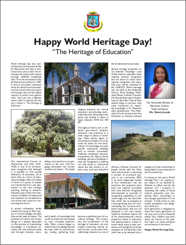 "Happy World Heritage Day!                                              ""The Heritage of Education""World Heritage Day also ..."
