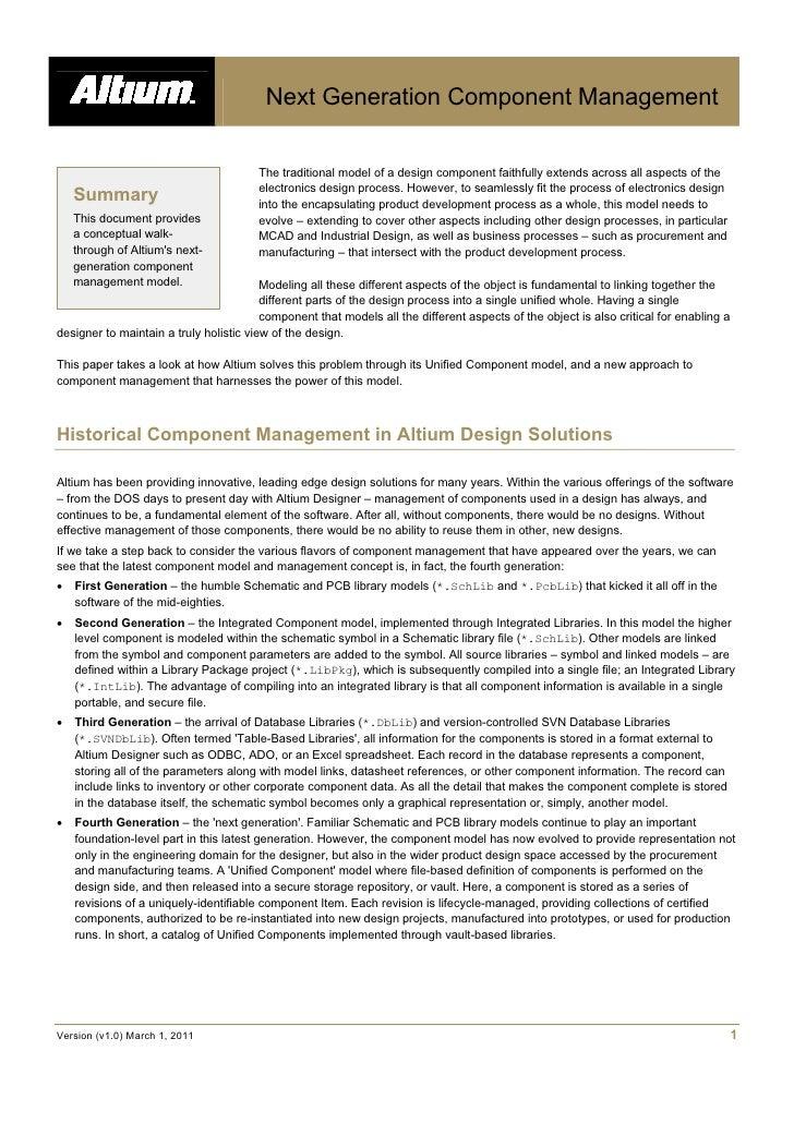 White PaperNext Generation Component Management