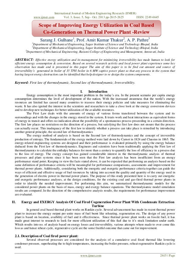 Scope of Improving Energy Utilization in Coal Based Co-Generation on Thermal Power Plant -Review