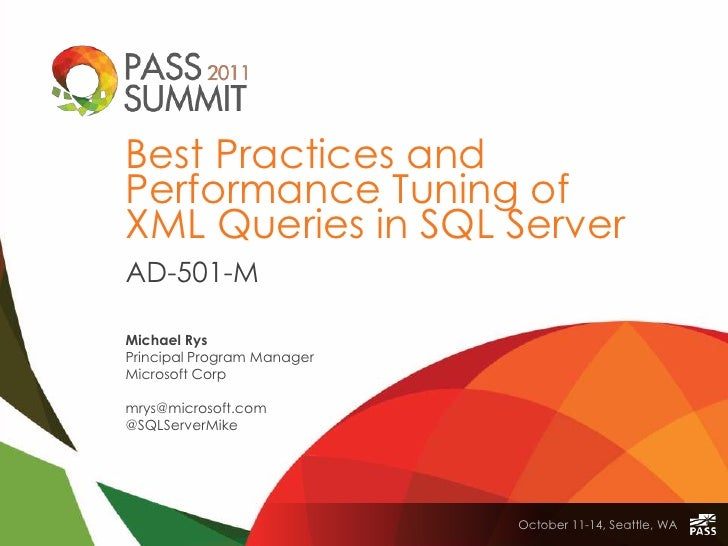 SQLPASS AD501-M XQuery MRys