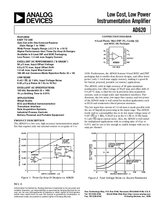 a  Low Cost, Low Power Instrumentation Amplifier AD620 CONNECTION DIAGRAM  FEATURES EASY TO USE Gain Set with One External...