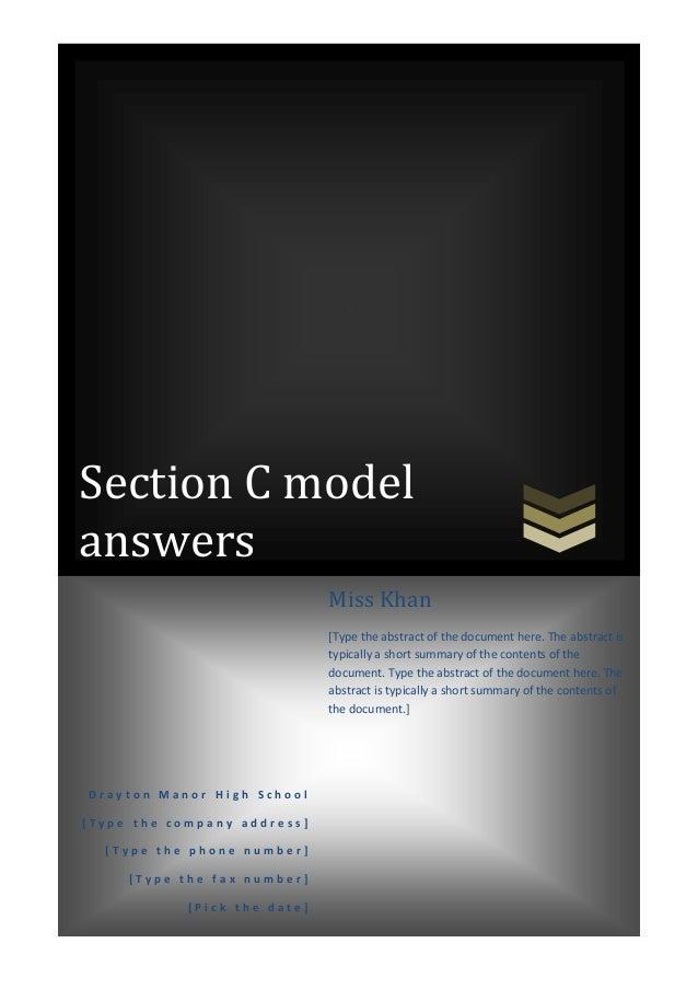 Section C model answers D r a y t o n M a n o r H i g h S c h o o l [ T y p e t h e c o m p a n y a d d r e s s ] [ T y p ...