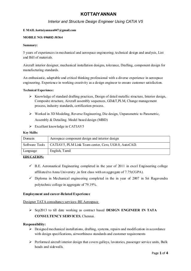 Catia engineer resume - Fresher Mechanical engineer, CATIA : Resume ...