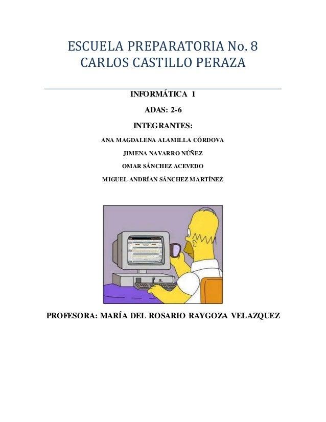 ESCUELA PREPARATORIA No. 8  CARLOS CASTILLO PERAZA  INFORMÁTICA 1  ADAS: 2-6  INTEGRANTES:  ANA MAGDALENA ALAMILLA CÓRDOVA...