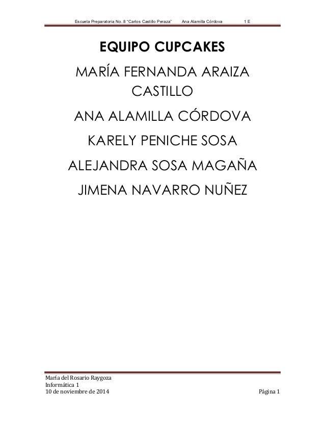 """Escuela Preparatoria No. 8 """"Carlos Castillo Peraza'' Ana Alamilla Córdova 1 E María del Rosario Raygoza Informática 1 10 d..."""