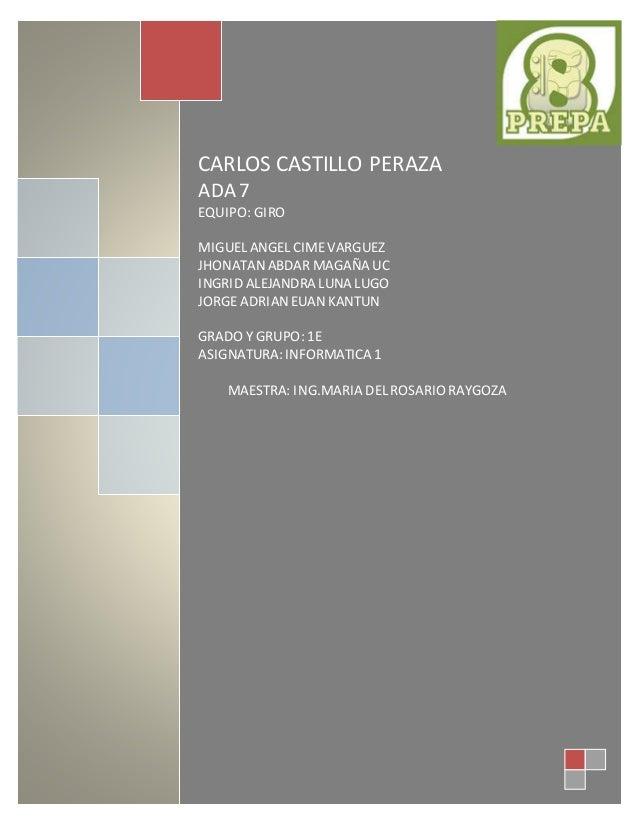 CARLOS CASTILLO  PERAZA  ADA 7  CARLOS CASTILLO PERAZA  ADA 7  EQUIPO: GIRO  MIGUEL ANGEL CIME VARGUEZ  JHONATAN ABDAR MAG...