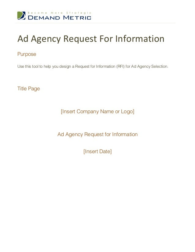 Ad	   Agency	   Request	   For	   Information	    Purpose Use this tool to help you design a Request for Information (RFI)...