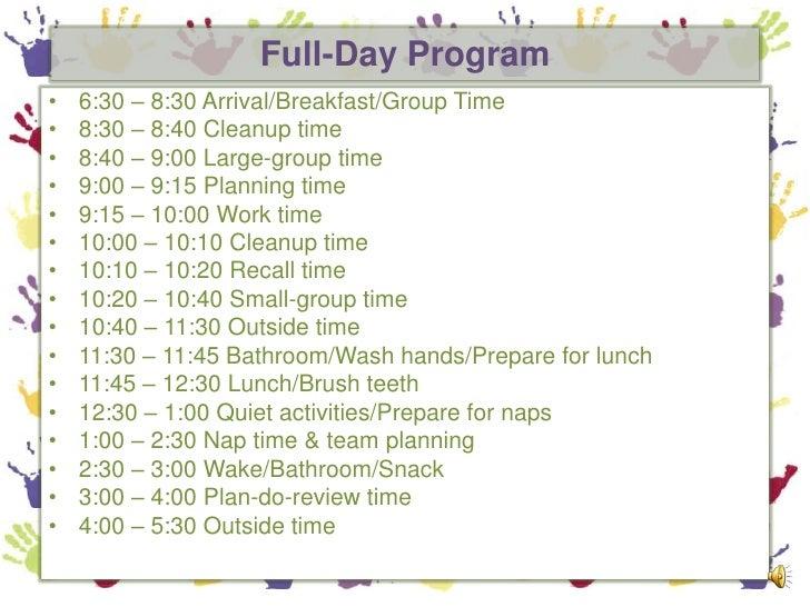 Example Of Preschool Daily Schedule | Printable Editable Blank