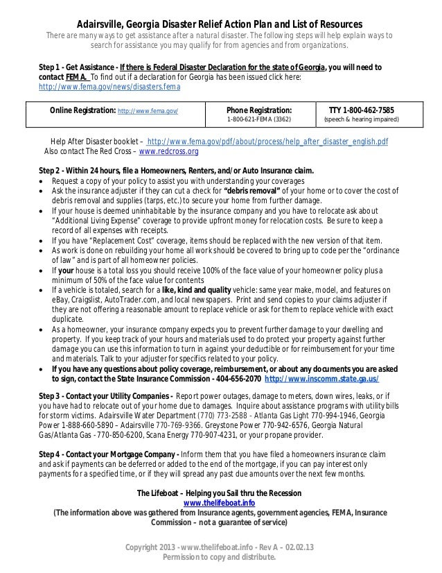 Adairsville, Georgia Disaster Relief Action Plan and List of Resources  There are many ways to get assistance after a natu...