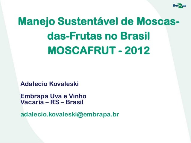 Manejo Sustentável de Moscas- das-Frutas no Brasil MOSCAFRUT - 2012 Adalecio Kovaleski Embrapa Uva e Vinho Vacaria – RS – ...