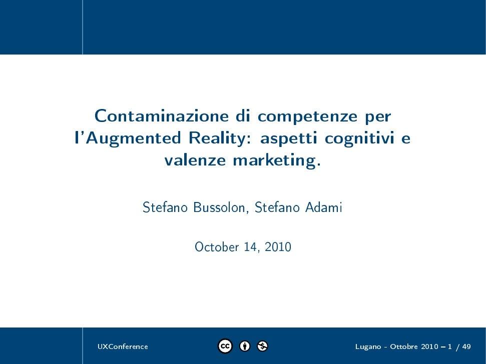 Contaminazione di competenze per l'Augmented Reality: aspetti cognitivi e valenze marketing