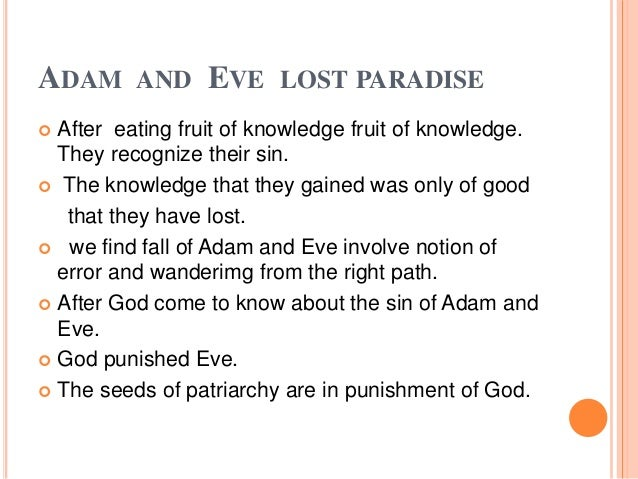 an analysis of the characters of adam and eve in paradise lost The characters of paradise lost the in the whole of paradise lost he does not communicate directly with adam and eve.