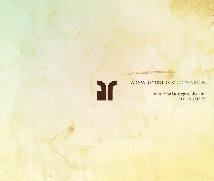Adam Reynolds Copywriter Portfolio