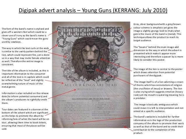 Digipak advert analysis – Young Guns (KERRANG: July 2010)                                                            Grey,...