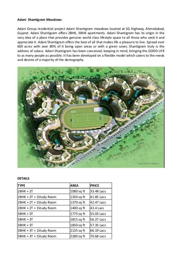 Adani Shantigram Meadows: Adani Group residential project Adani Shantigram meadows located at SG Highway, Ahmedabad, Gujar...