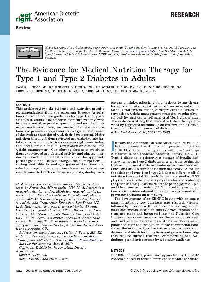 Ada nutrition practice guidelines franz