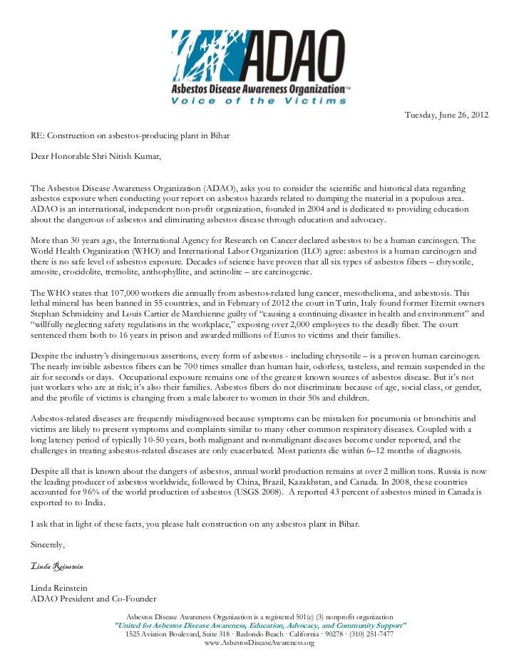 Asbestos Disease Awareness Organization (ADAO) letter to Hon. Shri Nitish Kumar