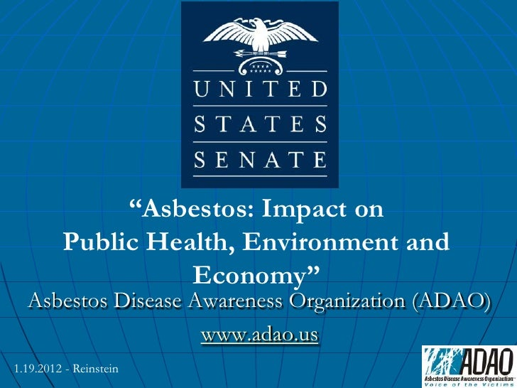"""ADAO Senate Staff Briefing """"Asbestos: The Impact on Public Health, the Environment, and the Economy"""""""