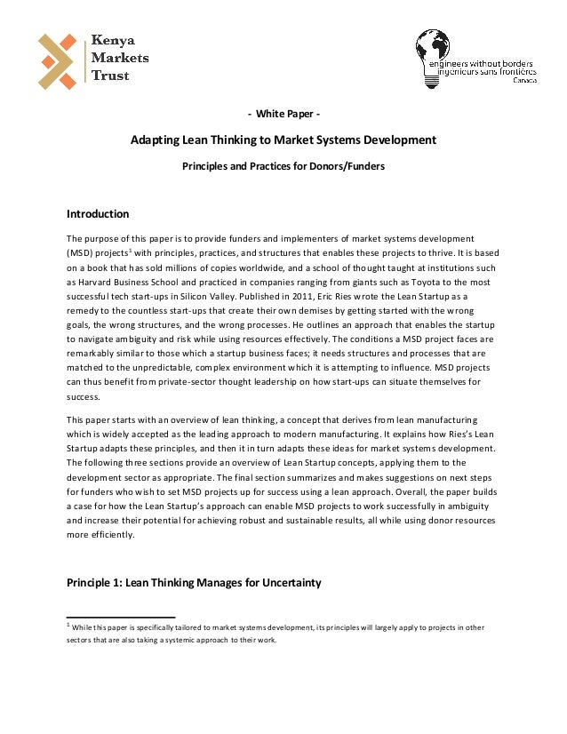 - White Paper - Adapting Lean Thinking to Market Systems Development Principles and Practices for Donors/Funders Introduct...