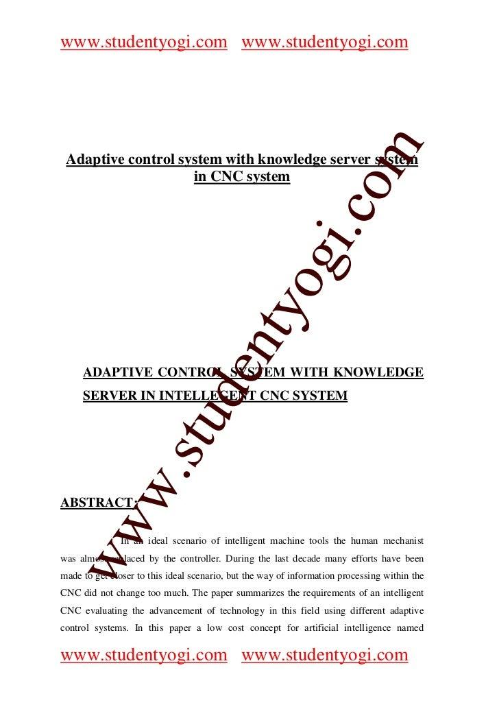 www.studentyogi.com www.studentyogi.com                       co om Adaptive control system with knowledge server system  ...